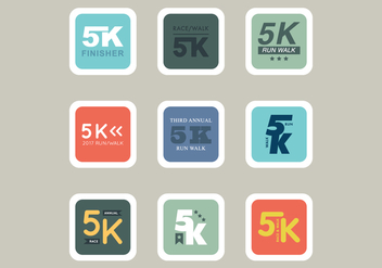 5K Races Icons - Free vector #432991