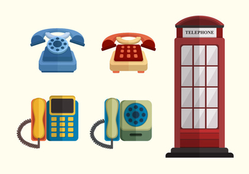 Flat Classic Telephone Vector Collection - бесплатный vector #433021