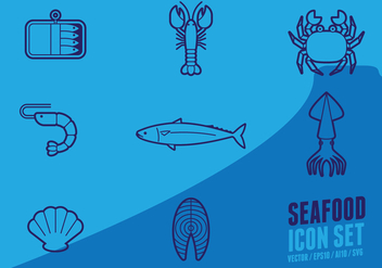 Fish And Seafood Outline Icon - vector gratuit #433031