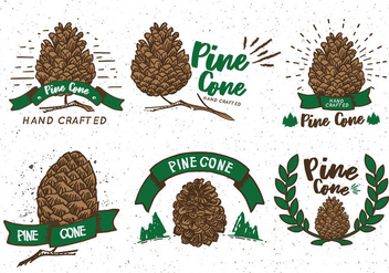 Pine Cones Sticker Vintage Label - Free vector #433051