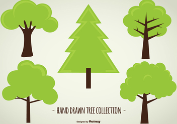 Cute Hand Drawn Tree Collection - Free vector #433061