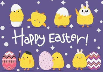 Funny Cute Easter Chick Vectors - vector #433151 gratis