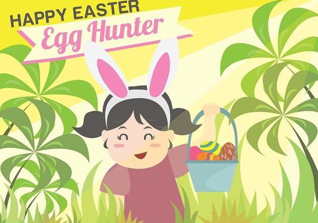 Easter Egg Hunt Kids Background Vector Free Vector