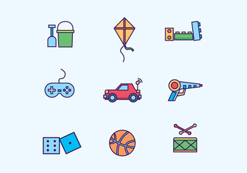 Kids Toys Icon Set - vector gratuit #433261