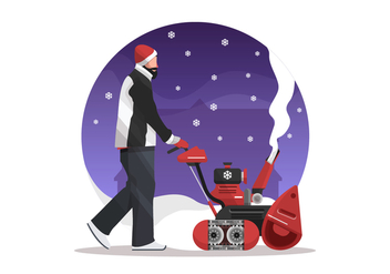 Man With A Snow Blower Vector Illustration - Free vector #433291