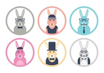 Hipster easter bunny icon set - Free vector #433391