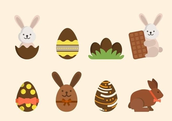 Flat Easter Chocolate Vectors - бесплатный vector #433441