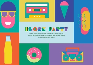80s Block Party Elements Background - vector gratuit #433491
