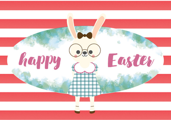 Happy Easter Cute Rabbit Vector - Free vector #433511