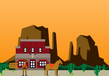 Flat Wild West Background Design - Free vector #433581
