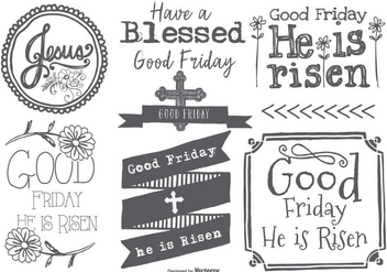Good Friday Hand Drawn Label Collection - vector gratuit #433591
