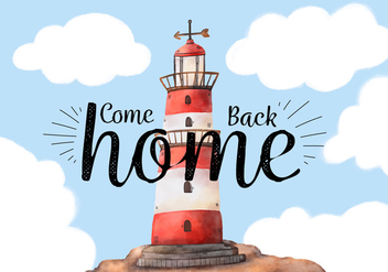 Cute Landscape With Lighthouse And Sky With Clouds - vector #433611 gratis