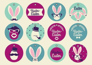 Hipster Easter Tag Vectors - бесплатный vector #433631