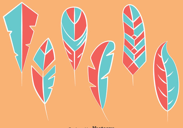 Blue And Pink Bird Feather Vectors - Free vector #433711