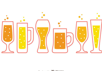 Beer Glasses Collection Vectors - vector gratuit #433741