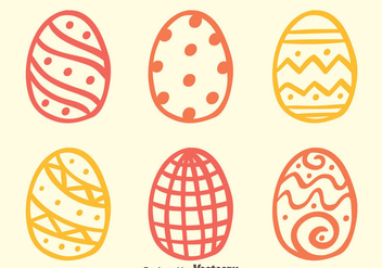 Sketch Easter Eggs Vectors - vector gratuit #433761