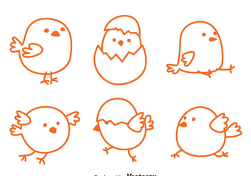 Sketch Easter Chick Vectors - Kostenloses vector #433771