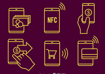 Nfc Payment Line Icons Vector - Kostenloses vector #433781