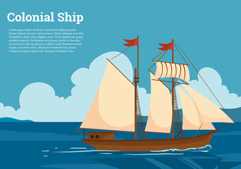 Colonial Ship Free Vector - vector gratuit #433791