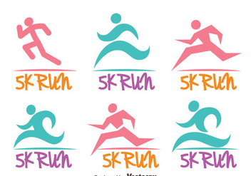 Colorful 5k Run Logo Vectors - Free vector #433821
