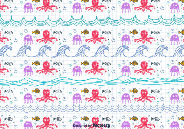 Children's Drawing Sea Pattern - Free vector #433861