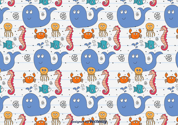 Doodle Sea Animals Pattern - Free vector #433871