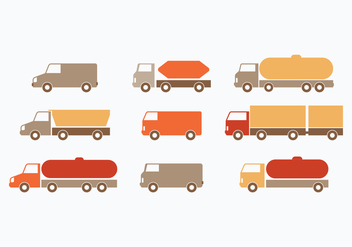Flat Moving Van Collection - бесплатный vector #433911