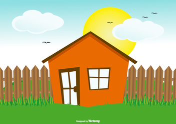 Cute Flat Hoouse Landscape Illustration - Free vector #433941