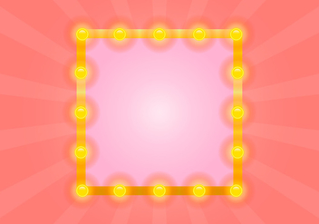 Lighted Mirror with Pink Sunburst Vector - vector #433981 gratis