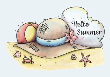 Cute Beach Scene With Hat And Ball To Summer - vector gratuit #434151