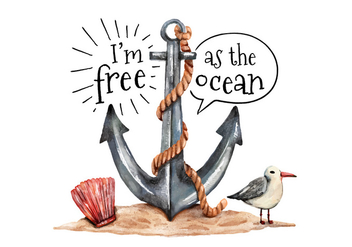 Watercolor Anchor Seagull and Oyster With Ocean Quote - Free vector #434161