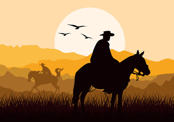 Gaucho Sunset Silhouette Free Vector - vector gratuit #434191