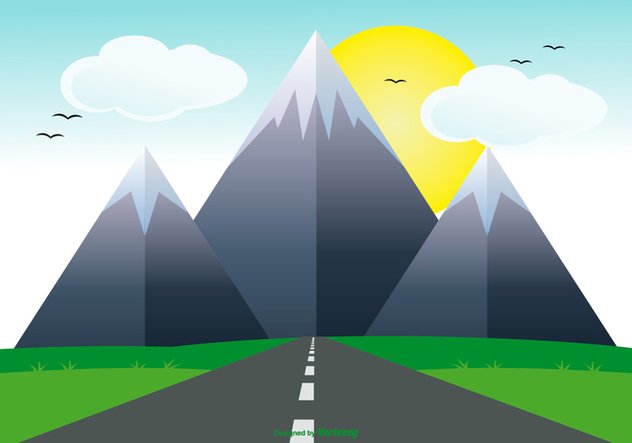 Cute Flat Landscape with Road Illustration - Free vector #434201