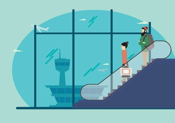 Man And Woman on Escalator In Airport Illustration - Free vector #434221