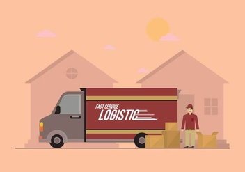 Free Delivery Truck Vector Illustration - Free vector #434231