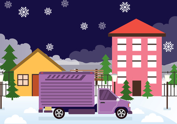 Moving Day in the Snow Vector Background - Free vector #434241