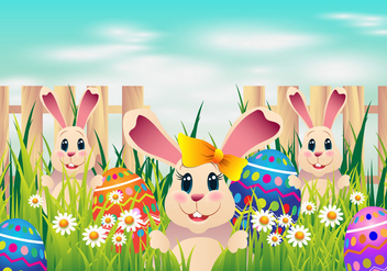 Easter Egg Hunt With Coloring Eggs and Cute Rabbit - Free vector #434271