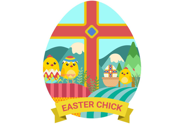 Easter Chicks Vector Illustration - vector gratuit #434281