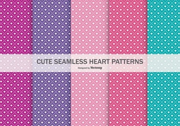 Cute Seamless Heart Patterns Collection - vector #434321 gratis