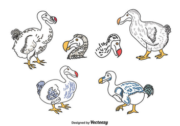 Hand Drawn Dodo Set - Free vector #434581
