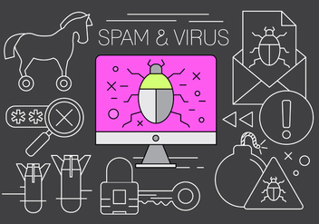 Free Spam and Virus Vector Elements - vector gratuit #434661