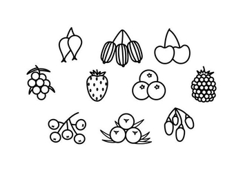 Free Berries Line Icon Vector - vector gratuit #434711