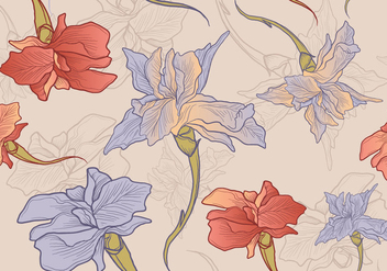 Iris Flower Hand Drawn Seamless Pattern - Free vector #434831
