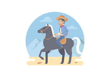 Gaucho Riding A Horse Vector Illustration - Free vector #434871