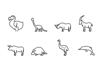 Extinct Animal Icons - vector #434881 gratis