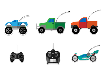 Flat RC Car Vectors - vector gratuit #435101