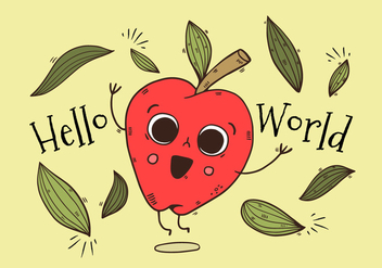 Cute Apple Character Jumping With Leaves With Happy quote - Free vector #435111