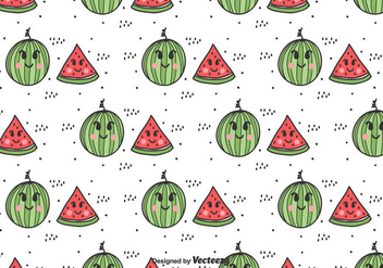 Cartoon Watermelon Vector Pattern - Free vector #435311