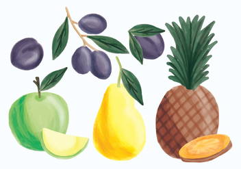 Vector Hand Drawn Pineapple, Apple, Pear and Plums - бесплатный vector #435331