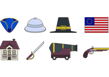 Set Of American Colonial Icons - Free vector #435341